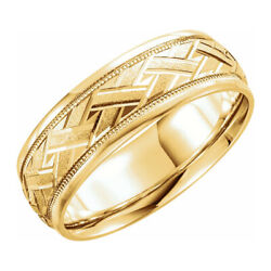 7mm 14k Yellow Gold Woven Design Comfort Fit Band