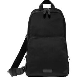 Cole Haan Mens Grand Series Black Leather Trim Crossbody Backpack O/s Bhfo 1899
