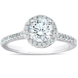 1 3/8ct Diamond Halo Engagement Ring Solid 14k White Gold
