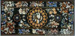 Black Marble Dining Table Top Bird Marquetry Inlay Furniture Design Outdoor Deco