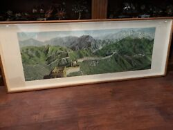 Vtg Great Wall of China Brocade Embroidery Tapestry in Shadow box Stunning
