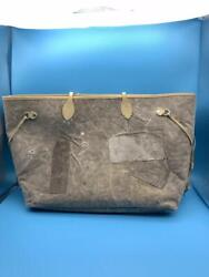 Readymade Roomy Bag Tote Vintage Cotton Canvas X Leather Gray From Japan