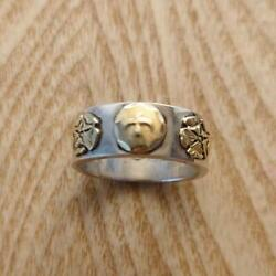 Goro's Double Rose Flat Ring Silver Body With Gold Metal Plates Size No.17