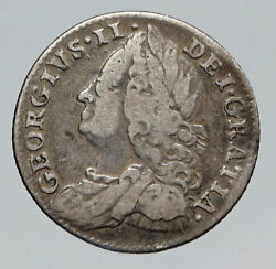 1757 Great Britain Uk British King George Ii Silver Antique 6 Pence Coin I91676