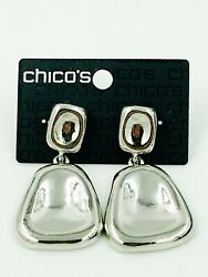 NEW CHICO#x27;S CHICOS BRYANNA SILVER TONE EARRINGS BRUTALIST MODERN ON $20.00 CARD