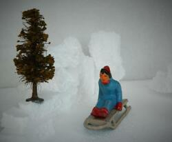 Barclay Usa 1950s Lead Girl On Sled Sledge And Rare German 1920s Bottle Brush Tree