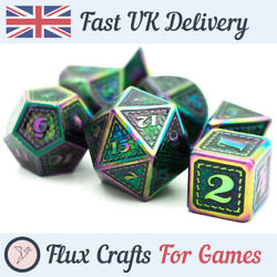 7pcs Purple And Green In Rainbow Metal Rpg Dice Set D20 Dnd Dungeons Flux Crafts