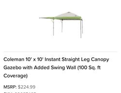 Coleman 10and039 X 10and039 Instant Straight Leg Canopy Gazebo With Added Swing Wall 100