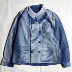 French Double Breasted Jacket Moleskin Faded Blue One Size 40's Vintage