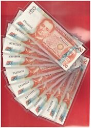 2010 Philippines 20 Peso Nds Aquino Solid 10 Pcs 111111 - 9999991mil 888888