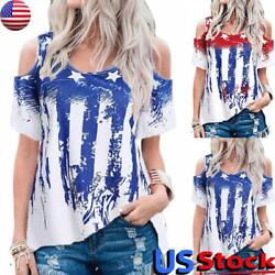Women#x27;s American Flag Print Tops Cold Shoulder T Shirt 4th of July Loose Blouse $12.73