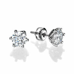 Sparkling 18kt White Gold Round Cut Diamond Stud Earrings 2.00 Ct F/si1