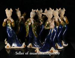 Old Chinese Tang Sancai Porcelain Palace 7 Beautiful Woman Lady's Maid Sculpture