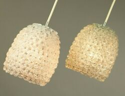 Vtg Pair Barovier And Toso Murano Glass Pendant Lights 70's Floral Luxury Lamps
