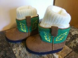 Infant John Deere Slippers Faux Suede Boots Size 6/12 Months Booties