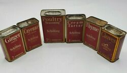 Vintage Lot Of 6 - 1933 A Schilling And Co Of San Francisco Spice Tins