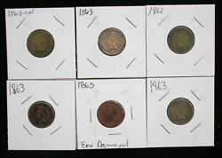 Lot Of 6 1863 Indian Head Small Cents - 08093