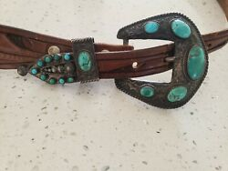 Vint. Keyston Bros American Indian Turquoise And Sterling Leather Belt Hand-tooled