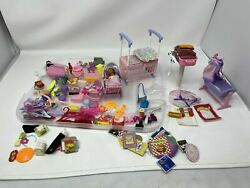 Vintage Barbie Bbq Grill, Crib, Baby Accesories, Weights. Drinks, And More Lot