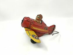 Marx Rollover Plane Wind Up No. 12 Red Yellow Tin Toy Parts Or Restore