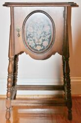 Vintage Humidor Copper Lined Smoking Table/cigar Stand -painted Floral-24 1/2 T