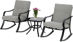Outdoor 3-piece Rocking Chairs Bistro Set, Black Metal Patio Furniture With Gre