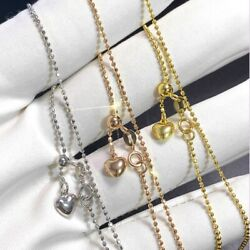 Au750 Real 18k Yellow Gold Chain For Women 1.1mm Carved Bead Gold Necklace Lucky