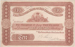 New Zealand Nat Bank Of Nz 1872 10 Pound Unissued Printerand039s Proof Note Pick P