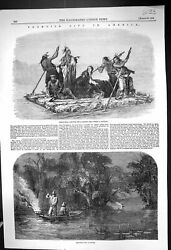 Old 1858 America Comanchees Captive Girl Boat River Spearing Fish Hun Victorian