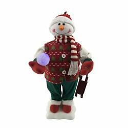 Fraser Hill Farm 24-in. Snowman Figurine With Lighted Snowball, Toy Sled, Animat