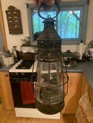 Rare Early 1800s Music Note Pattern 8 Sided Cast Globe Whale Oil Skater Lantern