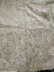VTG Fabric Woven Upholstery Craft NOS Tapestry Cream Pink Gold Shimmer Heavy