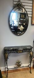 Antique Art Nouveau Floral Wrought Iron Console Table And Oval Wall Mirror Set