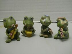 Frog Musicians Hand Painted Bisque Porcelain Drum Horn And Accordion Set Of 4