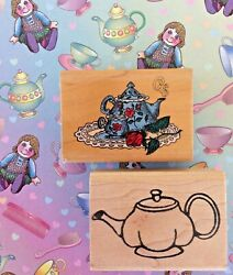 Teapots Wood Mount Rubber Stamps Vintage English Tea Party With Roses Coffee Pot