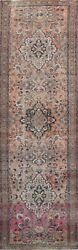 Antique Floral Heriz Traditional Runner Rug Hand-knotted Oriental 3and039x13and039 Carpet