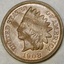 1908 S Indian Head Cent/penny Appealn Uncirculated Features Scarce Semi Key Date