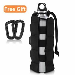 Tactical Molle Water Bottle Pouch Sports Bag Holder Adjustable Drawstring