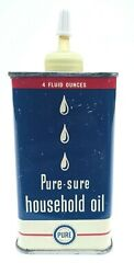 Tin Oil Can Pure Oil Company Pure-sure Household Oiler 4 Oz. Pho-53-4