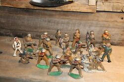 Lot Of 21 Vintage Barclay Manoil Lead Toy Soldiers Army Figures1930