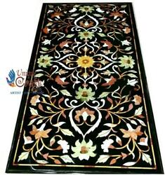 Black Marble Dining Customize Table Top Marquetery Floral Fine Inlaid Arts Dandeacutecor