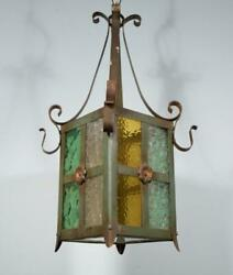 French Antique Iron And Stained Glass Hanging Chandelier/lamp