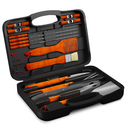 22 Pc Bbq Grill Tool Kit Spatula Tongs Brush Great Gift Barbeque Set With Case