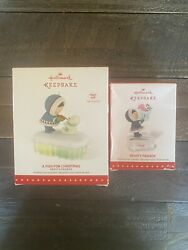 Nib, 2015 Hallmark Frosty Friends And A Fish For Christmas Ornaments