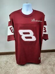 T3 Chase Authentics 8 Dale Jr L Red Cotton T-shirt Jersey Nascar Budweiser