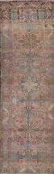 Antique Geometric Tebriz Runner Rug Evenly Low Pile Oriental Hand-knotted 4and039x14and039