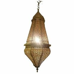Large Moroccan Brass Pendant Lamp With Decorative Hook