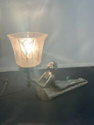 Vintage Chandler Lamp / Boudoir / Woman / Original Shade / Small Chip In Shade