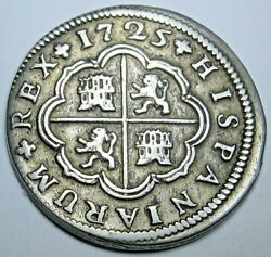 1725 Spanish Silver 2 Reales Antique 1700and039s Colonial Cross Pirate Treasure Coin