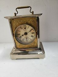 Victorian Antique German, Nickle And Brass Musical Alarm Carriage Clock